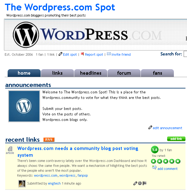 Wordpress.com FanPop site