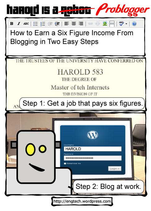 harold is a robot, comic, cartoon, web comic, robots wordpress, blog, blogs, blogging, problogger, career, money, income, profession, job, seo, smo, adsense