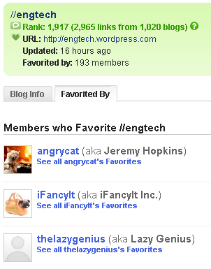 technorati favorites - people who favorited your blog - favorited by