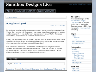 WordPress Sandbox Theme - Black Blue and Read All Over