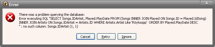 Scrobbler DJ sql error